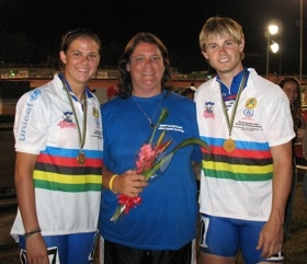 Stoking Olympic aspirations: L to R: Olympian Brittany Bowe, Renee Hildebrand, Joey Mantia.