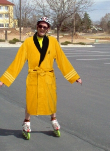 Boldly taking bathrobes where spandex has gone before.