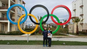 Brittany Bowe and Joey Mantia in Sochi, Russia 2014 as Olympians.